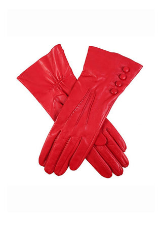 Silk lined button leather glove