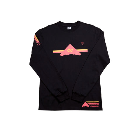 *CLEARANCE* Crepe City Mountains Team Long Sleeve Black
