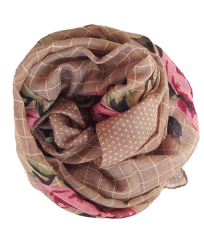 Brown Floral Hijab | Online hijab shop