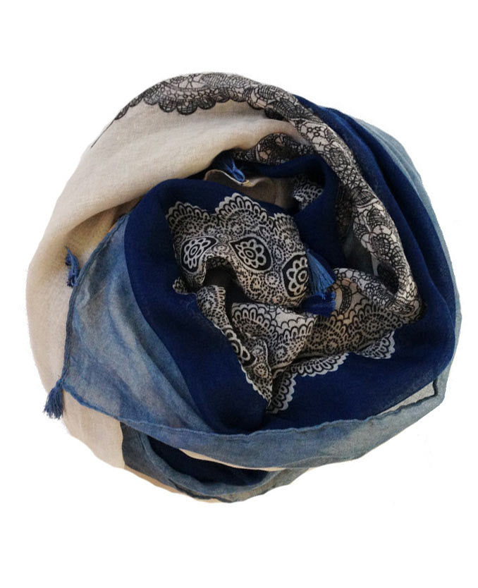 Blue Lace Print Hijab with Tassels | Best Hijab Shop