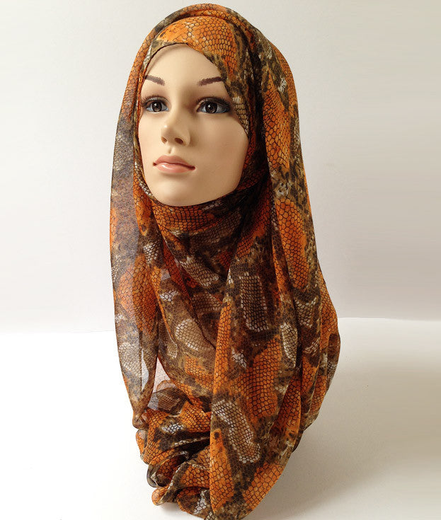 Orange Viper | Snake skin hijab | Online hijab shop