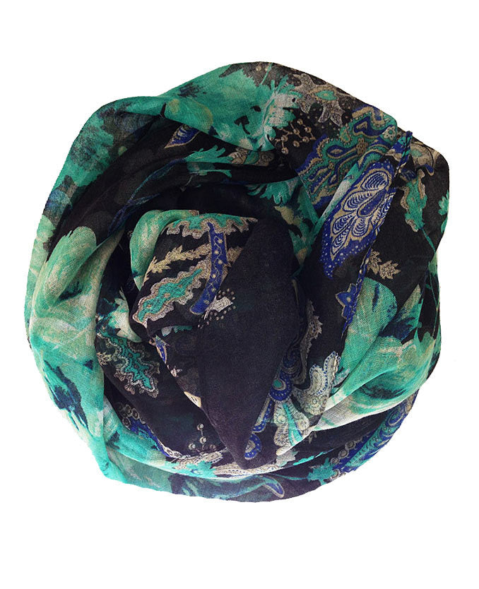 Green and Blue floral patterned hijab | Online Hijab Shop