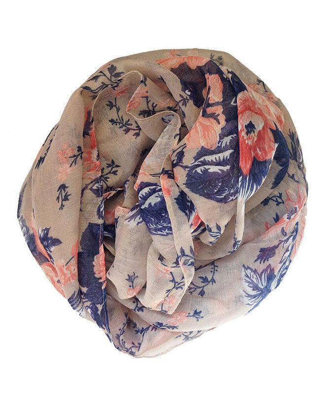 Peach and Blue floral pattern | Online Hijab Store