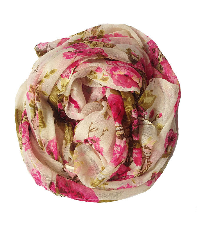 Pink and Green floral design against a beige background | Best hijab store
