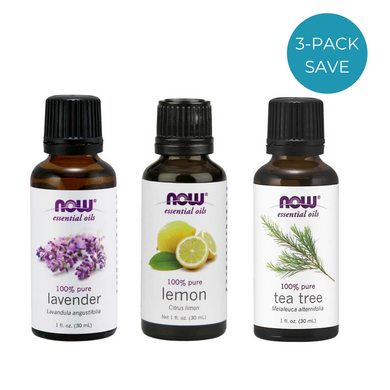 NOW essential oil bottles - lavender, lemon, tea tree