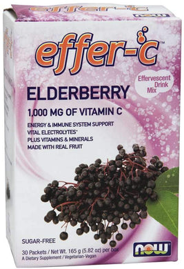 Now Foods, Effer-C, 100mg Vitamin C, Elderberry, 30 Packets, 5.82 oz (165g)