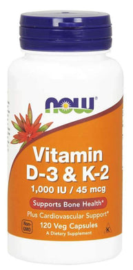 NOW Supplements, Vitamin D-3 & K-2, 120 Veg Capsules
