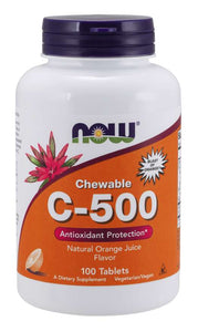 Now Foods, Chewable Vitamin C-500mg, Orange Flavor, 100 Tablets