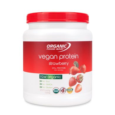 Organic Food Bar, Vegan Protein, Strawberry (372g)