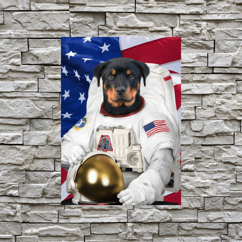 Pet Creatives The Astronaut - USA FLAG EDITION - Custom Pet Canvas