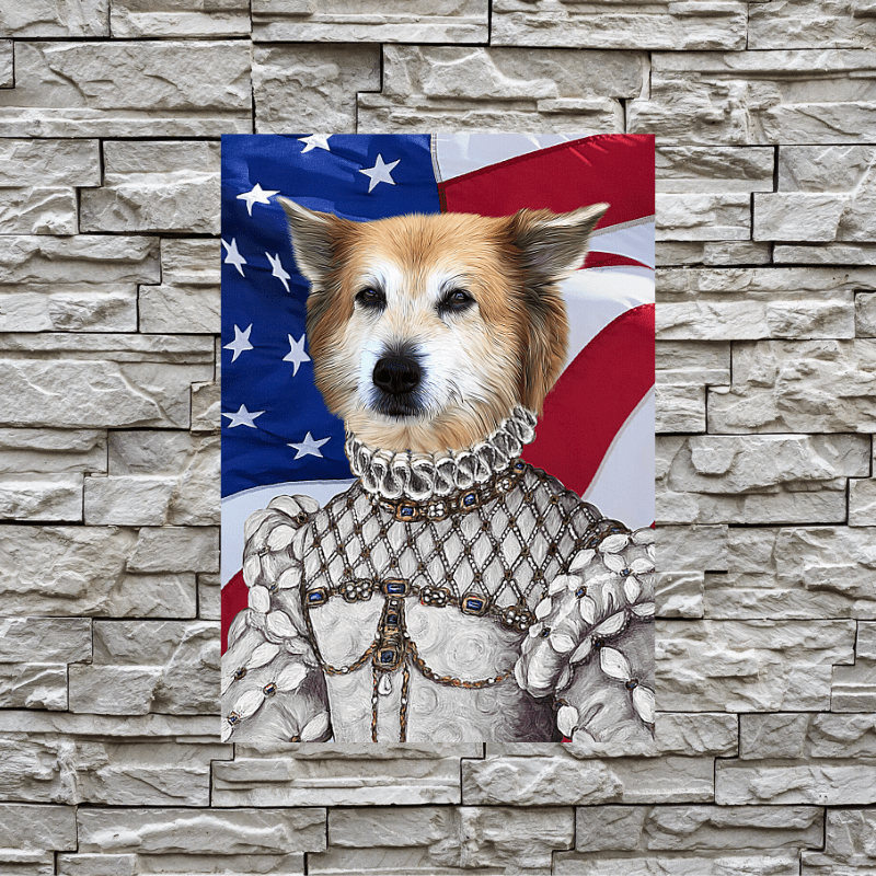 Pet Creatives The White Princess - USA FLAG EDITION - Custom Pet Canvas