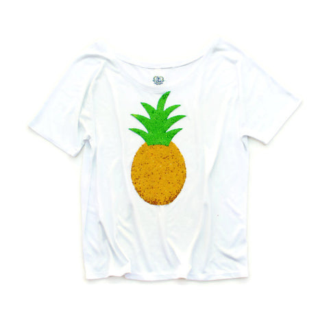 Sequin Pineapple Slouchy Tee Available in White or Black