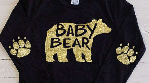 Toddler Glitter T Shirt Baby Bear Long Sleeve Tee - Bear Paw Elbow Patches