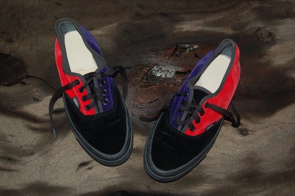 Rare Vintage Vans Sneakers - Retro Velvet 80's Vans Made in the USA Skate Shoe Plimsolls