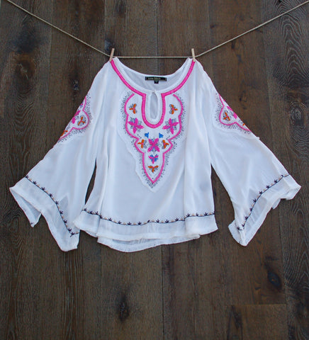 Boho Embroidered Bell Sleeve Tunic Full