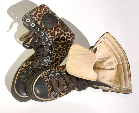 Vintage Get Your Punk On Leopard Converse All Star Sneaker Lined in Leather