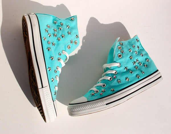 Aqua Blue All Star Converse Studded