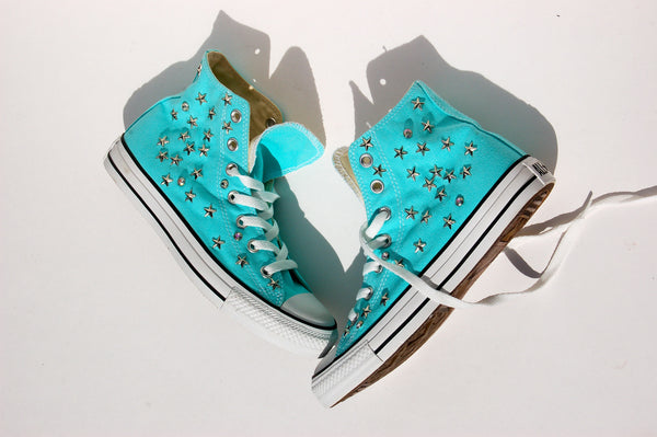 Aqua Blue All Star Sneakers Converse Studded Side