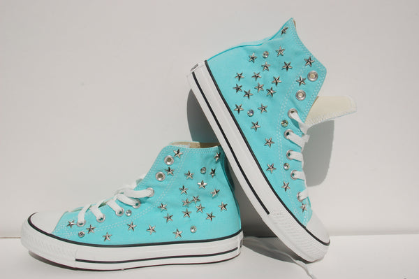 Aqua Blue All Star Sneakers Converse Studded Styled