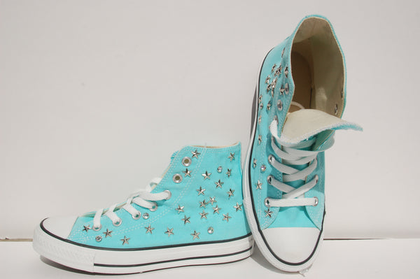 Aqua Blue All Star Sneakers Converse Studded Top