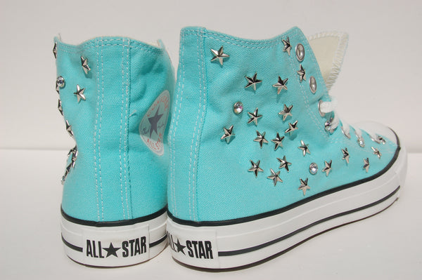 Aqua Blue All Star Sneakers Converse Studded Back
