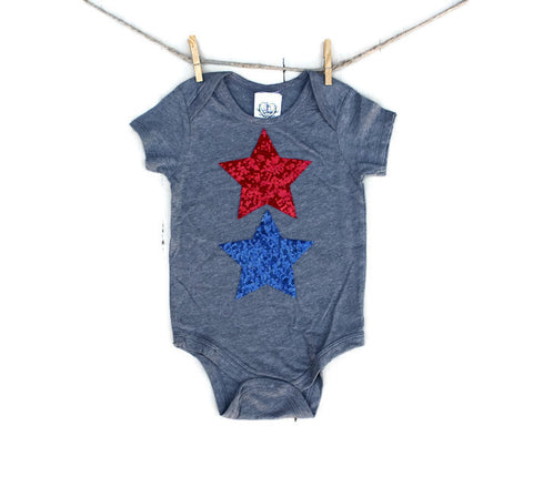 Red White and Blue Sequin Star Tee or Onesie - 4th of July Kids