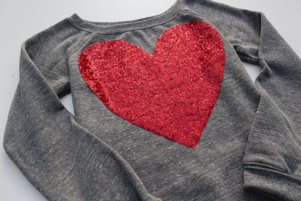 Sequin Heart Patch Sweatshirt Jumper - Heather Grey w Red Sequin Heart Patch