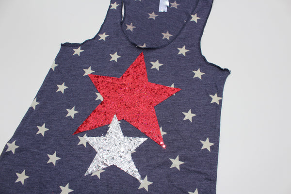 4th of July America the Beautiful Sequin Star Tank
