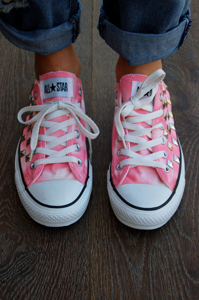 Coral Pink Tye Dye Low Top Studded Converse Top