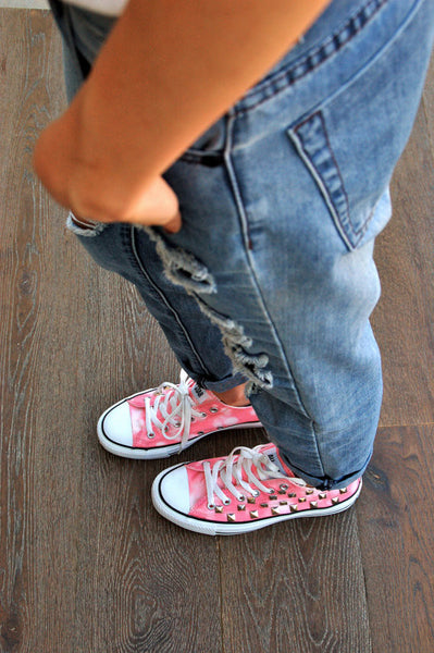 Coral Pink Tye Dye Low Top Studded Converse Side