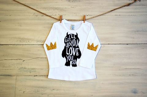 Toddler Youth Glitter T Shirt Ill Eat You Up I Love You So Long Sleeve Tee White with Glitter Crown Elbow Patches