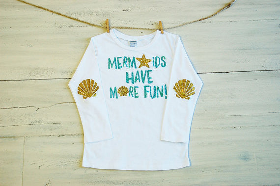 Toddler Glitter T Shirt Mermaids Have More Fun Long Sleeve Tee White with Glitter Sea Shell Elbow Patches