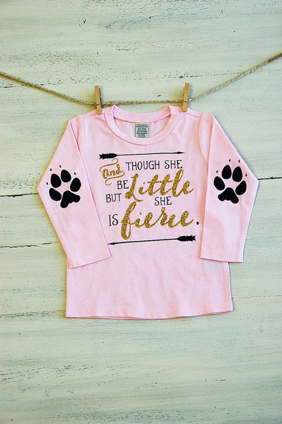Infant Glitter T ShirtThough She Be But Little She Is Fierce Long Sleeve Tee Pink with Glitter Paws Elbow Patches