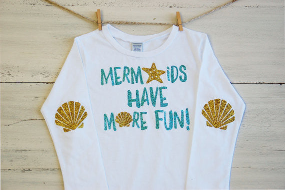 Infant Glitter T Shirt Mermaids Have More Fun Long Sleeve Tee White with Glitter Sea Shell Elbow Patches