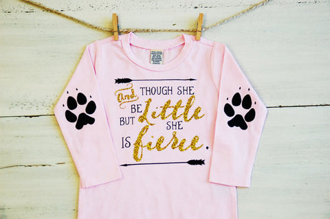 Toddler Glitter T ShirtThough She Be But Little She Is Fierce Long Sleeve Tee Pink with Glitter Paws Elbow Patches