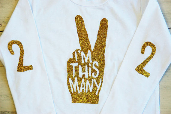 "Toddler Glitter T Shirt I'm This Many Long Sleeve Birthday Tee - 1 Year Old ""One"" - Sparkle T Shirt for Kids Cake Smash"