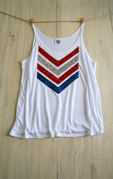 Red White and Blue Sequin Chevron Tank  Full
