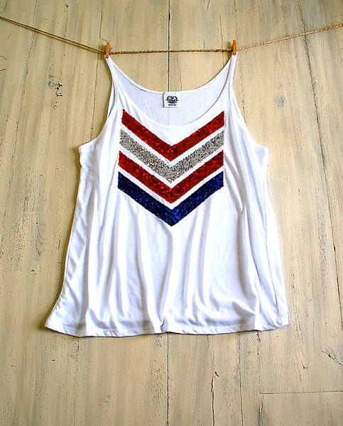 Red White and Blue Sequin Chevron Tank