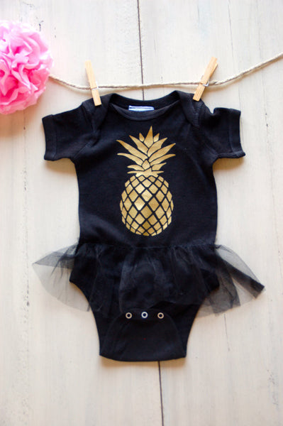 Infant Boho Gold Pineapple Dress - Baby Girl
