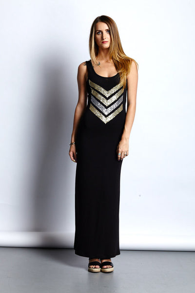 Sequin Chevron Boho Maxi Tank Dress