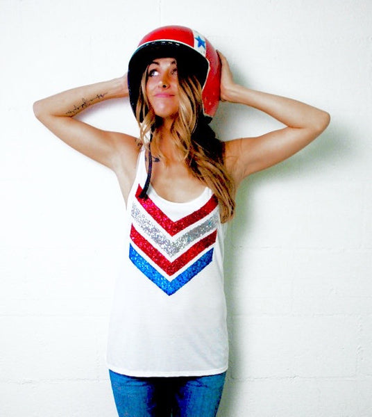 4th of July Red White and Blue Sequin Chevron Tank USA