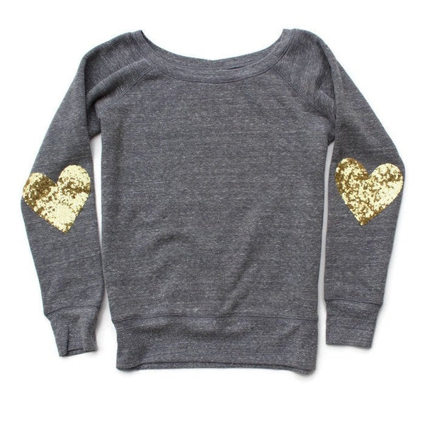 Valentines Day Shirt. Sequin Top. Heart Shirt. Heart Elbow Patches. Slouchy Sweatshirt. Off Shoulder. Plus Size Women. Gift for Her. Sweater