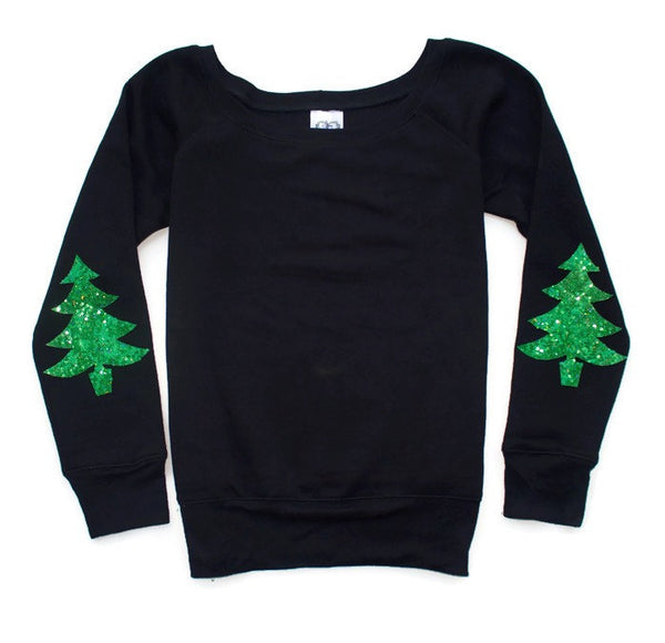 Cute Not Your Ugly Christmas Sweater. Christmas Shirt Women. Christmas Tree Elbow Patch Sweatshirt. Sequin Elbow Patch. Plus Size Available.