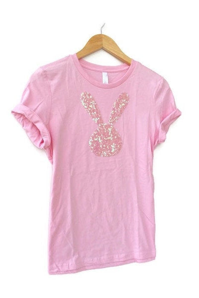Sequin Patch Easter Shirt / Women's T-Shirt / Tee / Easter Gift / Bunny Rabbit / Bunny Lover Gift / Pet Lover Gift / Ladies Plus Size