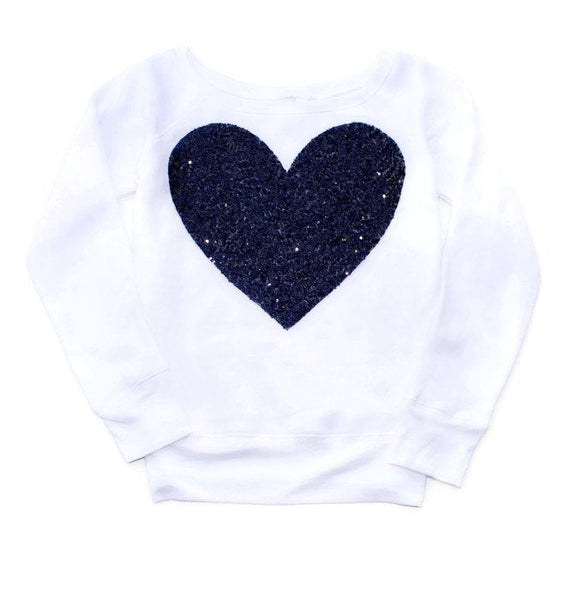 Valentines Day Shirt / Gift / Sequin Top / Heart / Sweatshirt / Gift for Women / Her / Black Heart / Off the Shoulder / Plus Size Clothing