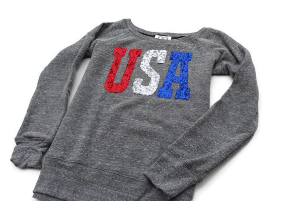 USA Sweatshirt. Sequin USA 4th of July Shirt. 4th of July Sweatshirt Jumper. Red White and Blue. USA.  Fourth of July. Stars Stripes