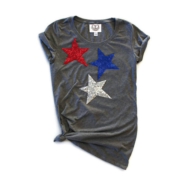 Star / Sequin 4th of July Shirts / Fourth of July Shirt Women / Star Appliques / Country Music Concert Tee / Red White and Blue  / Patriotic