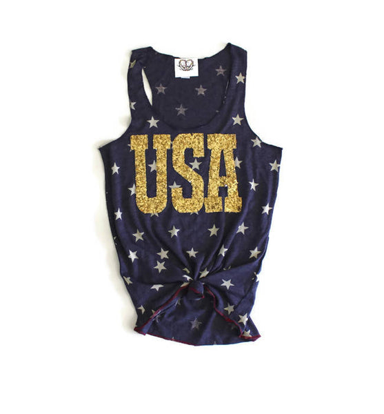 Sequin USA Star Tank. Womens 4th of July Tank Shirt. Stars and Stripes. Fourth of July Shirt. America Tee. USA Tank. July 4th Tank Top