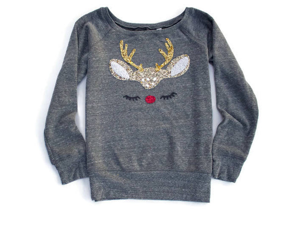 Not Your Ugly Christmas Sweater / Sequin Patch Reindeer Sweatshirt / Gift for Women / Off the Shoulder Sweatshirt Women / Cute Shirt Women