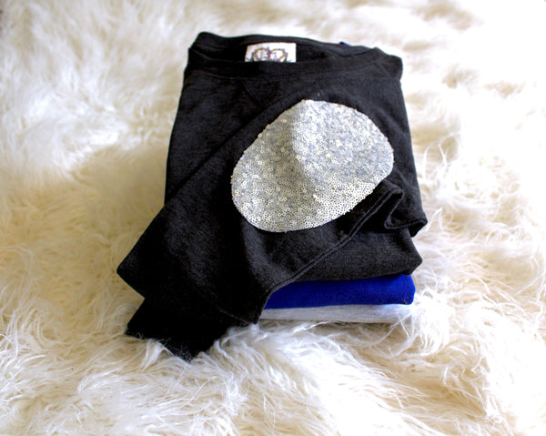 Womens Sweatshirt / Sequin Elbow Patches / Elbow Patch Shirt / Off the Shoulder / Slouchy / Ladies Clothing / Sequin Top / Cute Sweatshirt